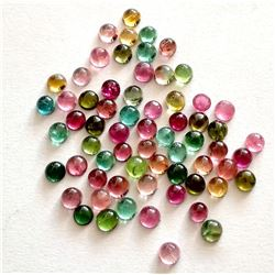 100% Natural 3 mm Multi Color Tourmaline Round Cabochon Loose Gemstone 100 Pieces Lot