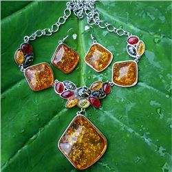 BALTIC AMBER GEMSTONE SILVER PLATED HANDMADE NECKLACE WITH EARRINGS