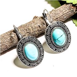"""TURQUOISE GEMSTONE SILVER PLATED LEVER BACK EARRING 1.5"""""""