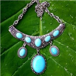 TURQUOISE GEMSTONE SILVER PLATED VINTAGE HANDMADE NECKLACE