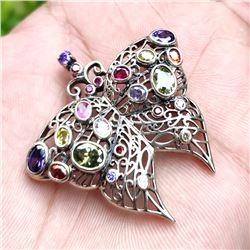Multi Gemstone Butterfly 92.5 Sterling Silver Pendant