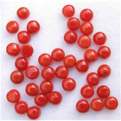 Natural Italian Red Coral 5mm Round Cabochon Loose Gemstone 100 Pieces Lot