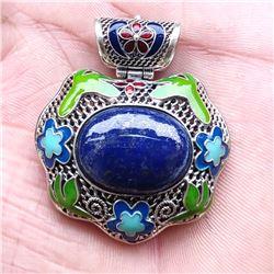 Lapis Lazuli Antique 92.5 Sterling Silver Pendant