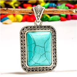 TURQUOISE GEMSTONE SILVER PLATED PENDANT