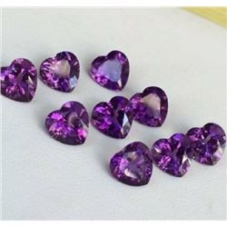 NATURAL PURPLE AMETHYST 6X6 MM HEART CUT FACETED LOOSE GEMSTONE 50 PIECES LOT