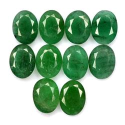Natural Emerald 8x6 MM Oval Cut Green Loose Untreated Gemstone 20 Pieces Lot