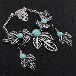 TURQUOISE GEMSTONE SILVER PLATED HANDMADE NECKLACE WITH EARRINGS