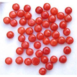Natural Italian Red Coral 4mm Round Cabochon Loose Gemstone 100 Pieces Lot