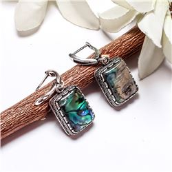 ABALONE SHELL GEMSTONE SILVER PLATED LEVER BACK EARRINGS