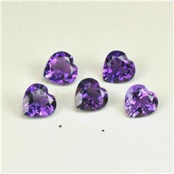 NATURAL PURPLE AMETHYST 5X5 MM HEART CUT FACETED LOOSE GEMSTONE 100 PIECES LOT