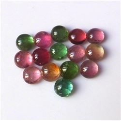 100% Natural 7 mm Multi Color Tourmaline Round Cabochon Loose Gemstone 50 Pieces Lot