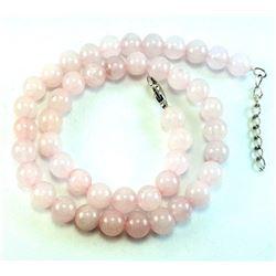 "Natural Rose Quartz Gemstone 8 mm Round Beads Necklace Jewelry 16"""