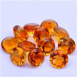 NATURAL GOLDEN CITRINE 7 MM ROUND CUT FACETED LOOSE GEMSTONE 25 PIECES LOT