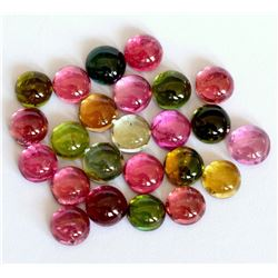 100% Natural 6 mm Multi Color Tourmaline Round Cabochon Loose Gemstone 50 Pieces Lot