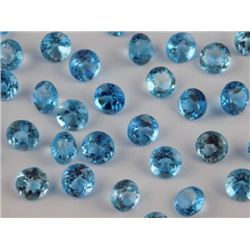 Natural Blue Topaz 5 mm Round Cut Loose Gemstone 25 Pieces Lot