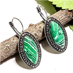 """MALACHITE GEMSTONE SILVER PLATED LEVER BACK EARRING 1.5"""""""
