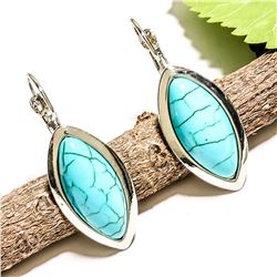 TURQUOISE GEMSTONE SILVER PLATED LEVER BACK EARRING 1.5""