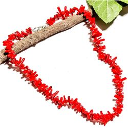 NATURAL RED CORAL GEMSTONE NECKLACE