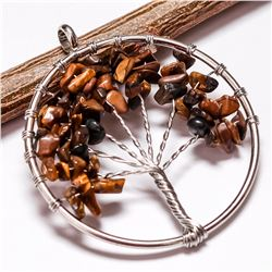 TIGER'S EYE GEMSTONE TREE OF LIFE CHARM SILVER PLATED PENDANT JEWELRY