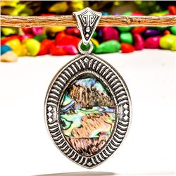 ABALONE SHELL GEMSTONE SILVER PLATED PENDANT JEWELRY