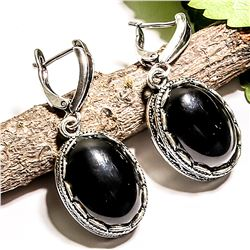 BLACK ONYX GEMSTONE SILVER PLATED LEVER BACK EARRING 1.5""