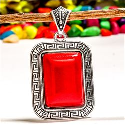 RED TURQUOISE GEMSTONE SILVER PLATED PENDANT
