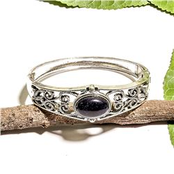 BLACK STAR GEMSTONE SILVER PLATED  BRACELET BANGLE