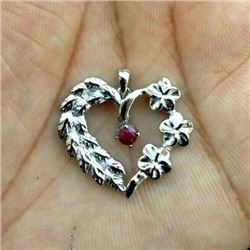 RED RUBY GEMSTONE 92.5 STERLING SILVER HEART HANDMADE PENDANT