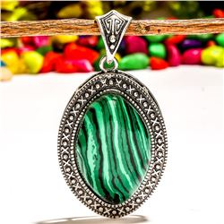 MALACHITE GEMSTONE SILVER PLATED PENDANT