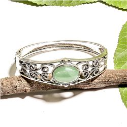 JADEITE GEMSTONE SILVER PLATED  BRACELET BANGLE
