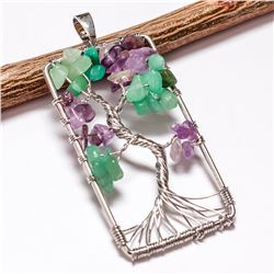 AMETHYST GEMSTONE TREE OF LIFE CHARM SILVER PLATED PENDANT JEWELRY