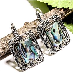 ABALONE SHELL GEMSTONE SILVER PLATED LEVER BACK EARRING 1.5""