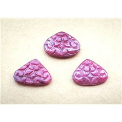 Beautiful Hand Carved Ruby Pear Shape Gemstone 3 Piece Lot