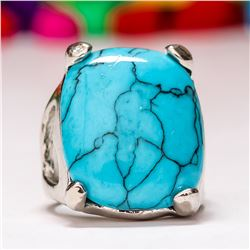 TURQUOISE GEMSTONE SILVER PLATED RING SIZE 9