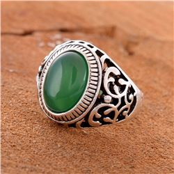 GREEN ONYX GEMSTONE SILVER PLATED RING SIZE 8