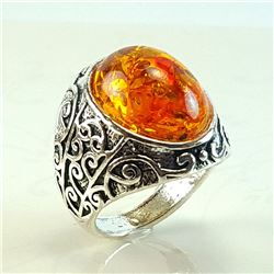 BALTIC AMBER GEMSTONE SILVER PLATED RING SIZE 10