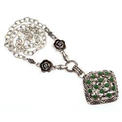 Emerald Quartz Gemstone Silver Plated Necklace