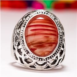 CARNELIAN GEMSTONE SILVER PLATED RING SIZE 8