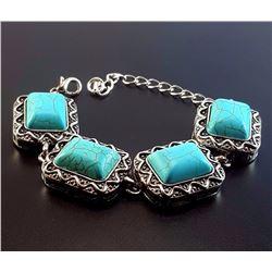 Turquoise Gemstone Silver Plated Handmade Bracelet