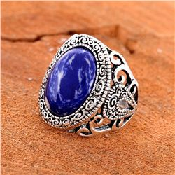 BLUE SODALITE GEMSTONE SILVER PLATED RING SIZE 9
