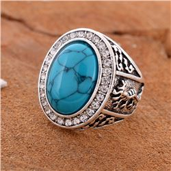 TURQUOISE GEMSTONE SILVER PLATED RING SIZE 8