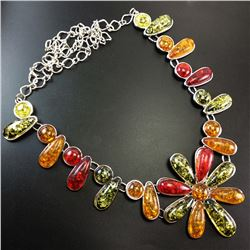 BALTIC AMBER GEMSTONE SILVER PLATED HANDMADE NECKLACE