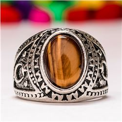 TIGER'S EYE GEMSTONE SILVER PLATED RING SIZE 9