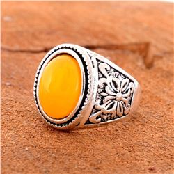 BALTIC AMBER GEMSTONE SILVER PLATED RING SIZE 8