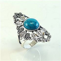 TURQUOISE GEMSTONE SILVER PLATED RING SIZE 7