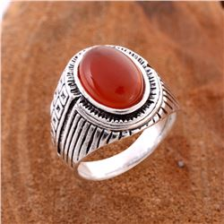 CARNELIAN GEMSTONE SILVER PLATED RING SIZE 9