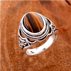 TIGER'S EYE GEMSTONE SILVER PLATED RING SIZE 8