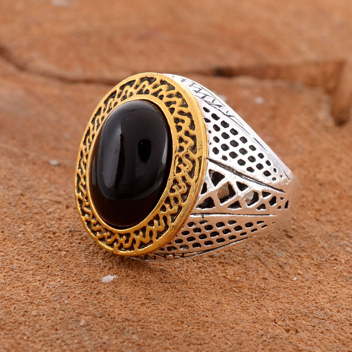 9 Silver Plated Brass Black Onyx Ring