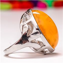 BALTIC AMBER GEMSTONE SILVER PLATED RING SIZE 7