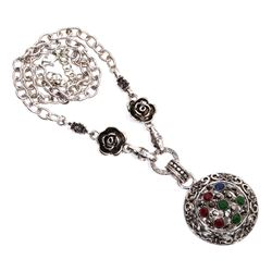 Multi Gemstone Silver Plated Necklace